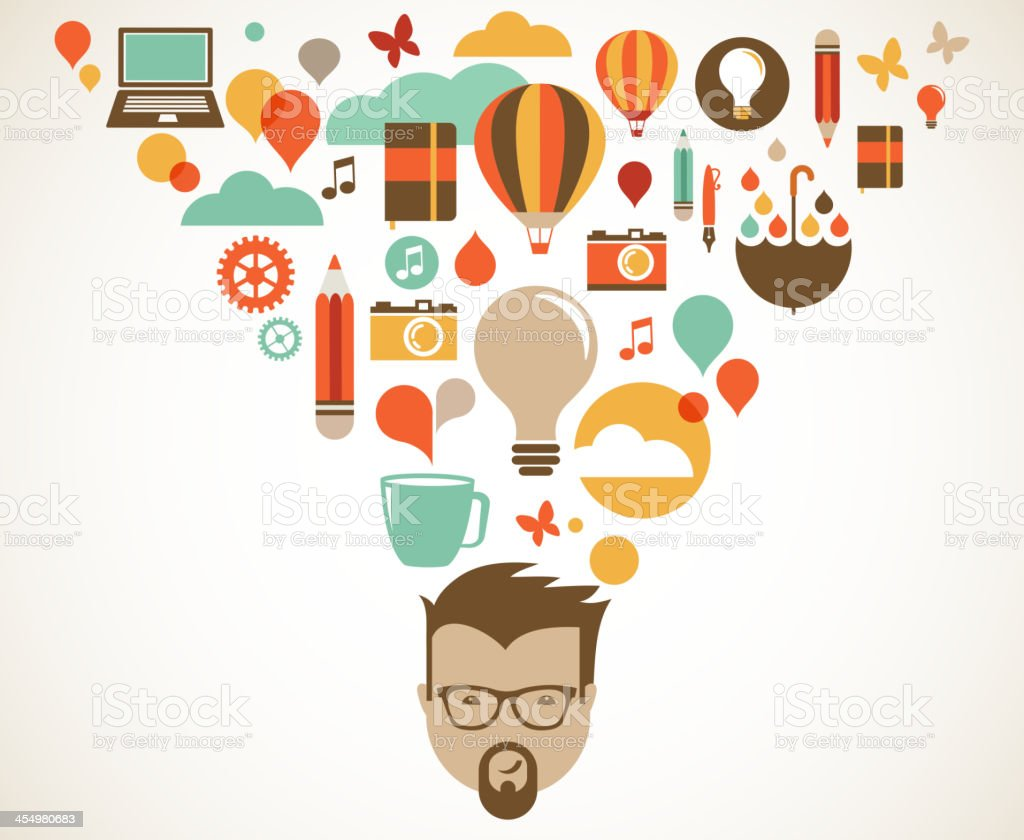 Creative and business ideas from a man's head vector art illustration