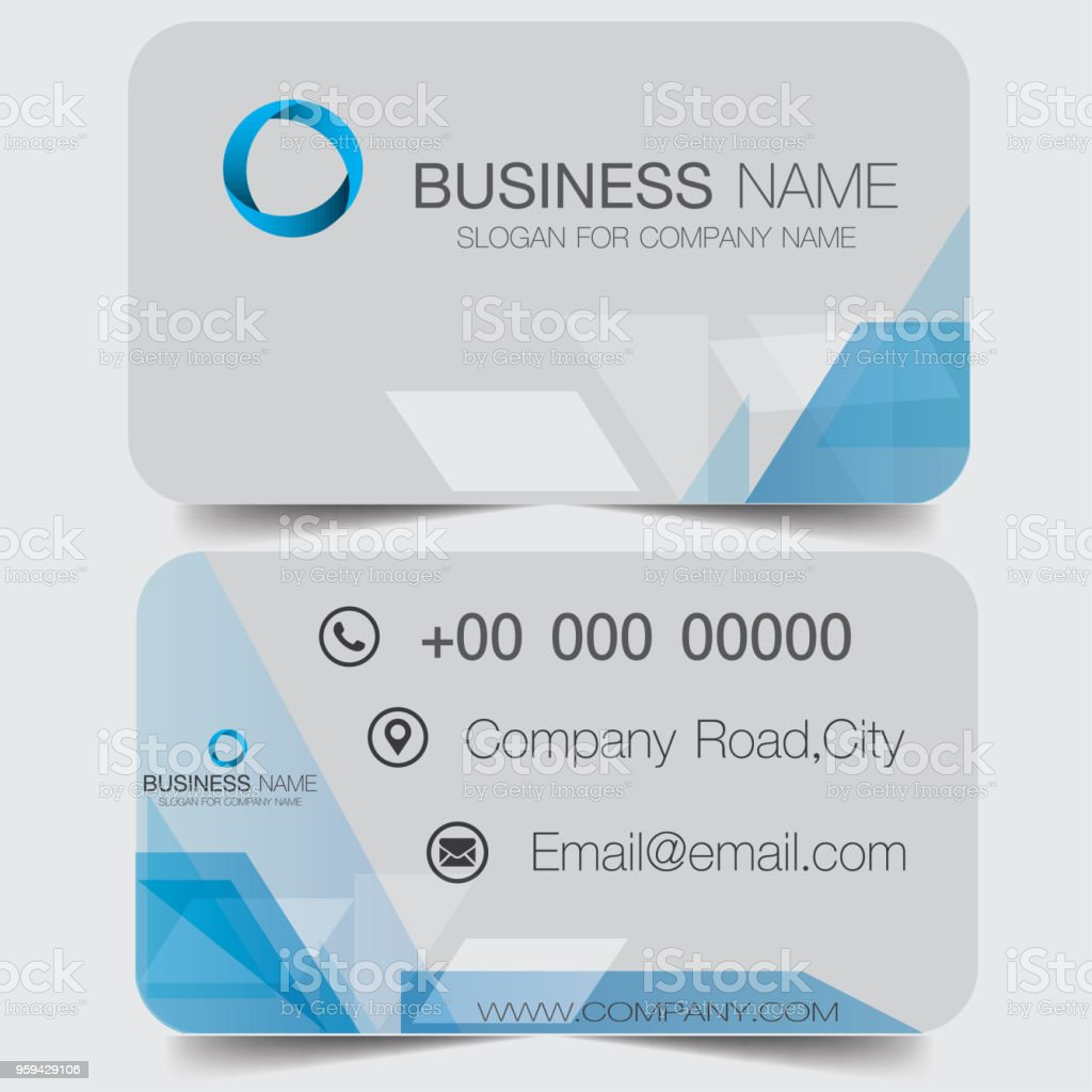 Creative and clean doublesided blue business card template gold creative and clean double sided blue business card template gold colors flat design reheart Images