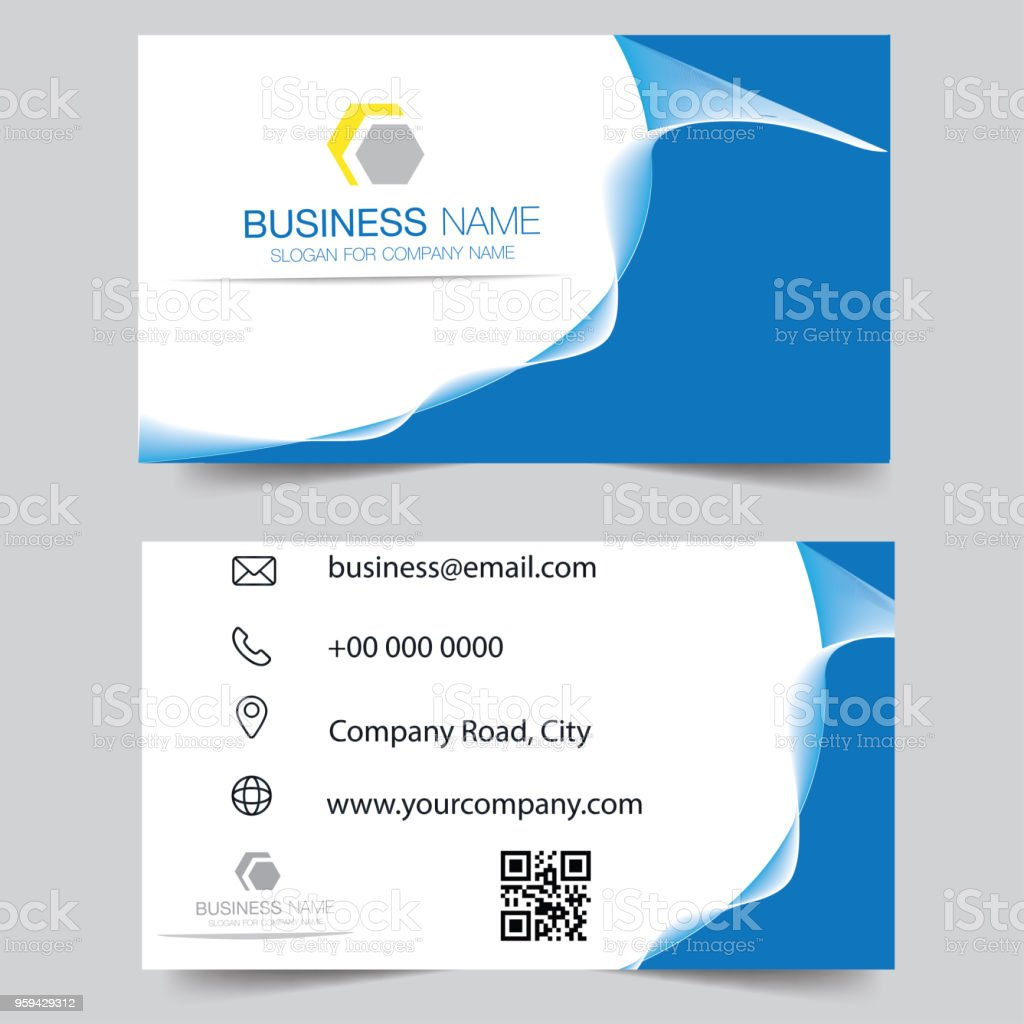 Creative And Clean Doublesided Blue Business Card Template Gold