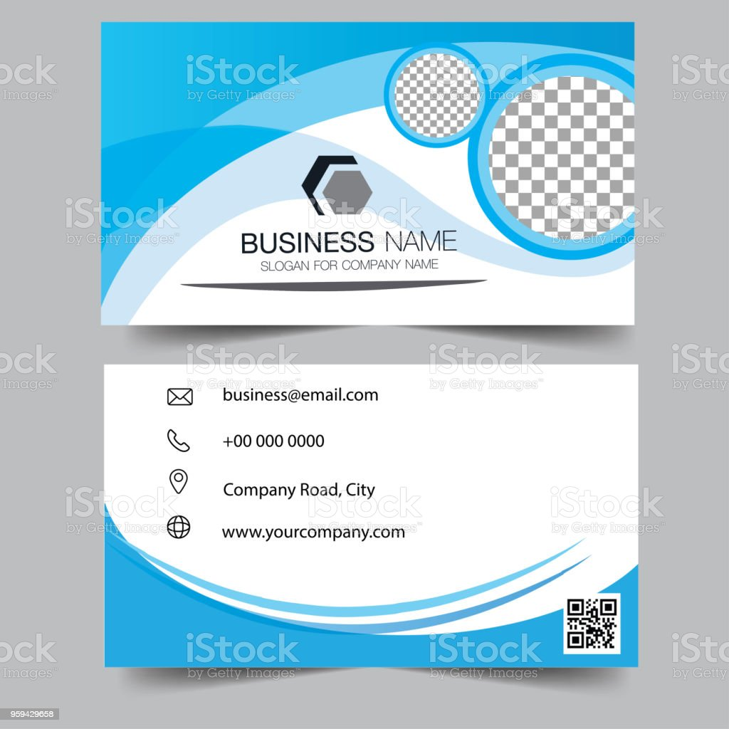 Creative and clean doublesided blue business card template gold creative and clean double sided blue business card template gold colors flat design flashek Gallery