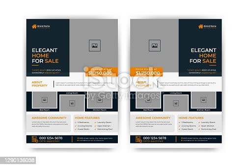 istock Creative and clean real estate flyer for real estate and property business 1290136038