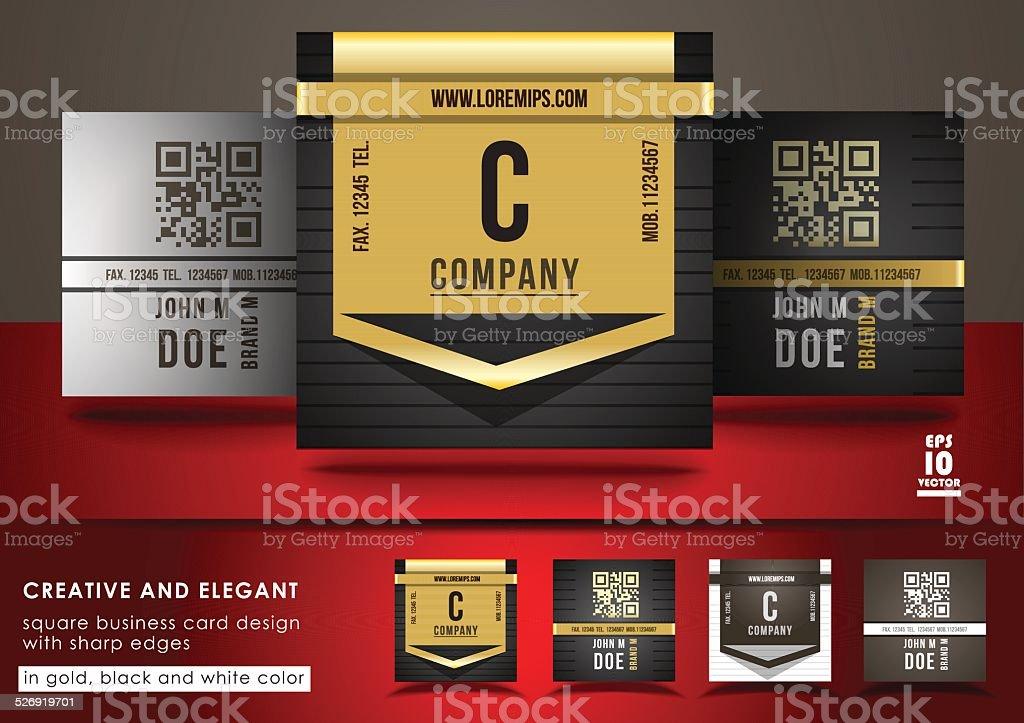 Creative And Elegant Square Business Card Design Stock Vector Art ...