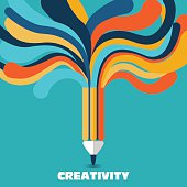 Creative and idea vector concept. A pencil with colorful lines