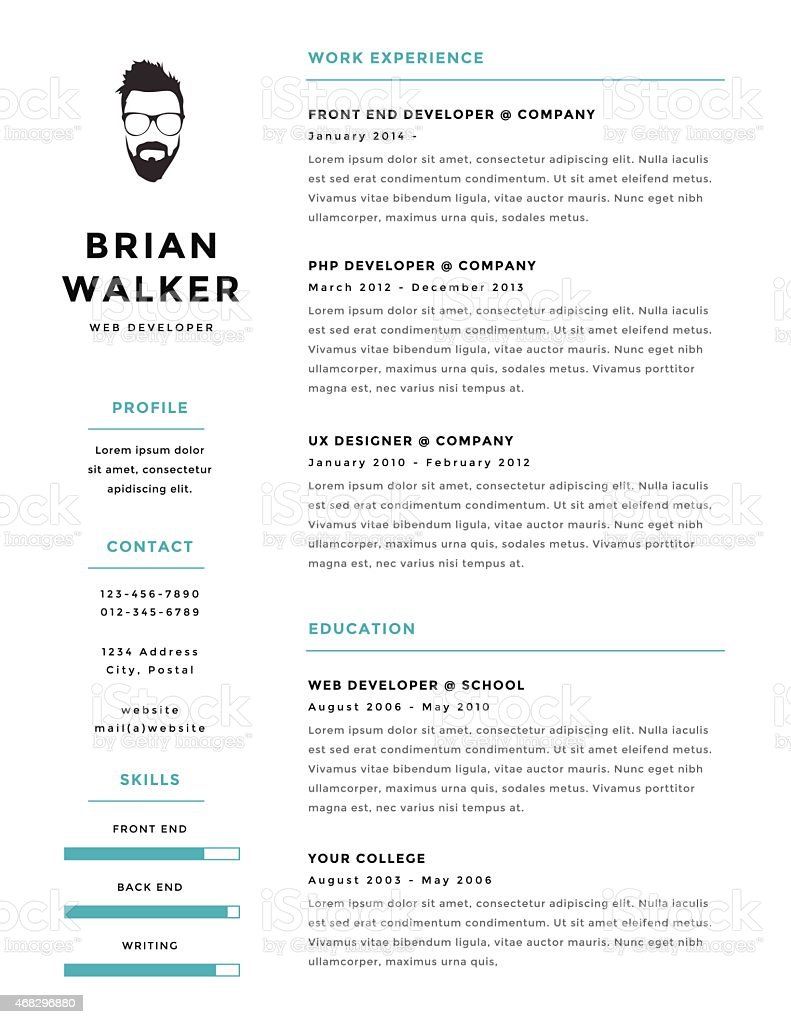 creative and minimalistic personal vector resume cv template stock vector art  u0026 more images of