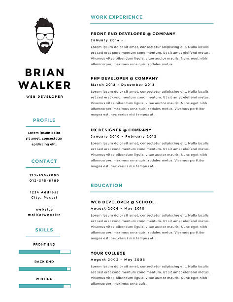 Royalty free business cv templates clip art vector images creative and minimalistic personal vector resume cv template vector art illustration wajeb Choice Image