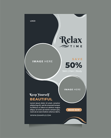 Creative and modern beauty care promotion design. Flat design vector with a photo collage. Usable for social media, banner, and web internet ads