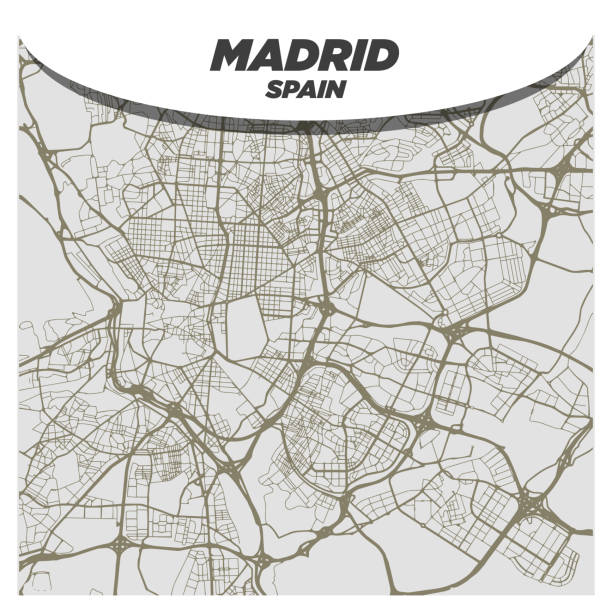 Creative and Modern Flat City Street or Road Map of Madrid Spain vector art illustration