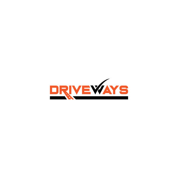 Creative and modern typography drive ways logo design template vector eps for use transportation business purpose driveway stock illustrations