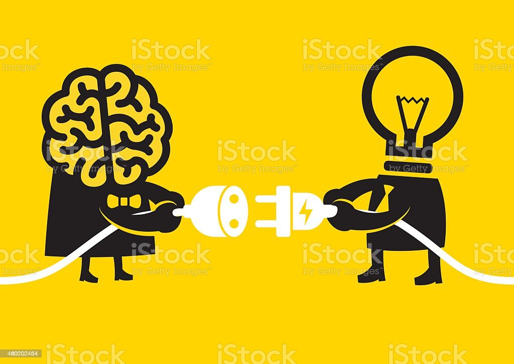 Creative and Smart Connection | Yellow Business Concept vector art illustration