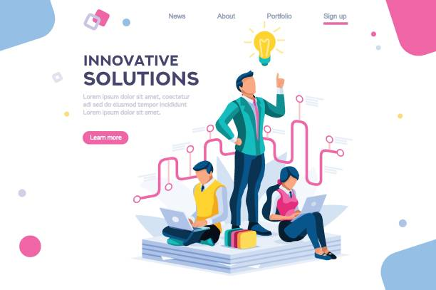 Creative Answer Cartoon Concept Wonder creative answer, cartoon exclamation, communication. Search for confused idea or problem doubt solution. Clever think. Project for application alert concept with character isometric flat vector confused face stock illustrations