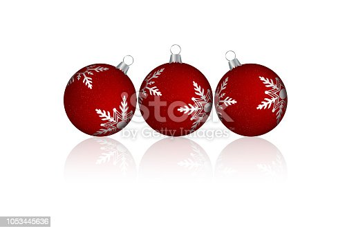 A creative arrangement of four red merry christmas baubles design  with silver white coloured snowflakes - vector Illustration. Over white. Shadows. The baubles stand floating in the air .Banner - Sign, Christmas, Copy space, background. Merry X'Mas. Tilted baubles, the middle one is straight.