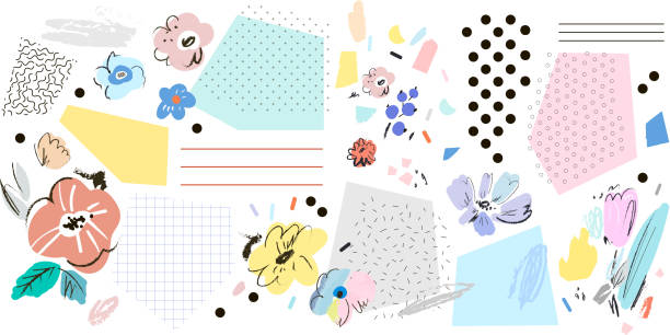 Creative art header with different shapes and textures. vector art illustration