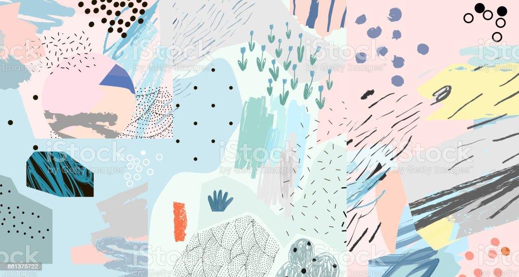 En-tête d'art créatif avec différentes formes et textures. - Illustration vectorielle