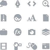 Creative art icons in gray as part of a letterpress series