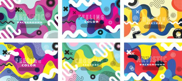 Creative artistic abstract backgrounds Set of bright and high contrast backgrounds for poster, card, flyer, brochure and web design. Pop art,  and 80s style waves. funky stock illustrations