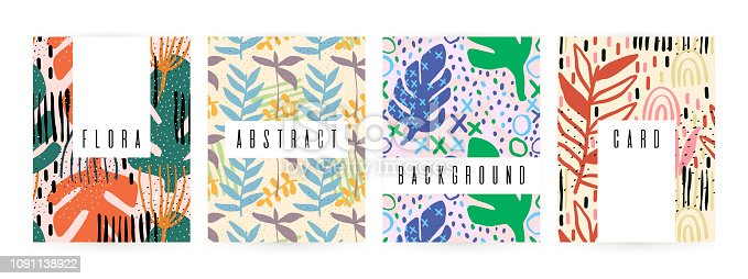 Creative background with floral elements and different textures. Collage. Design for poster, card, invitation, placard, brochure, flyer. Vector illustration