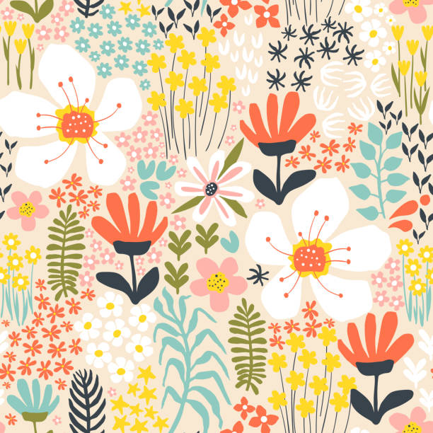 creative background with floral elements - vintage nature stock illustrations, clip art, cartoons, & icons