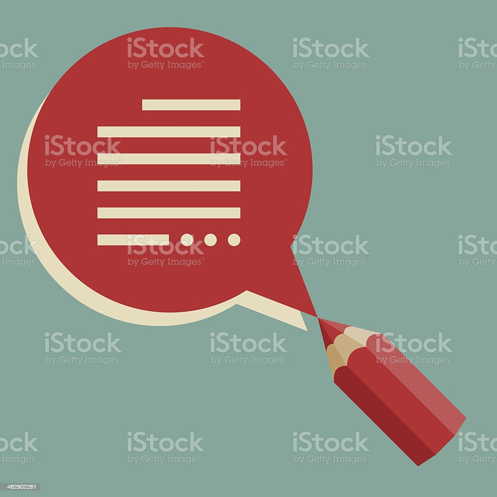 Creative background with pencil and speech bubble. royalty-free stock vector art