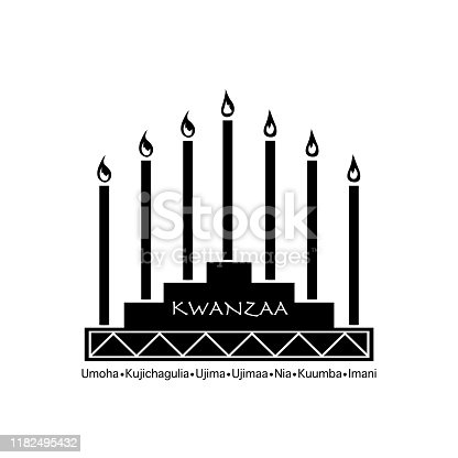istock Creative Banner for Kwanzaa with traditional colored candles representing the Seven Principles (or Nguzo Saba) over a ancient scroll 1182495432