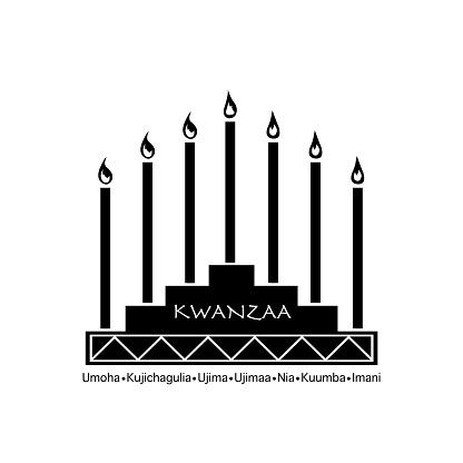 Creative Banner for Kwanzaa with traditional colored candles representing the Seven Principles (or Nguzo Saba) over a ancient scroll