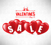 Creative Banner Valentines Sale With Four Red Hearts In White Background With Heart Pattern