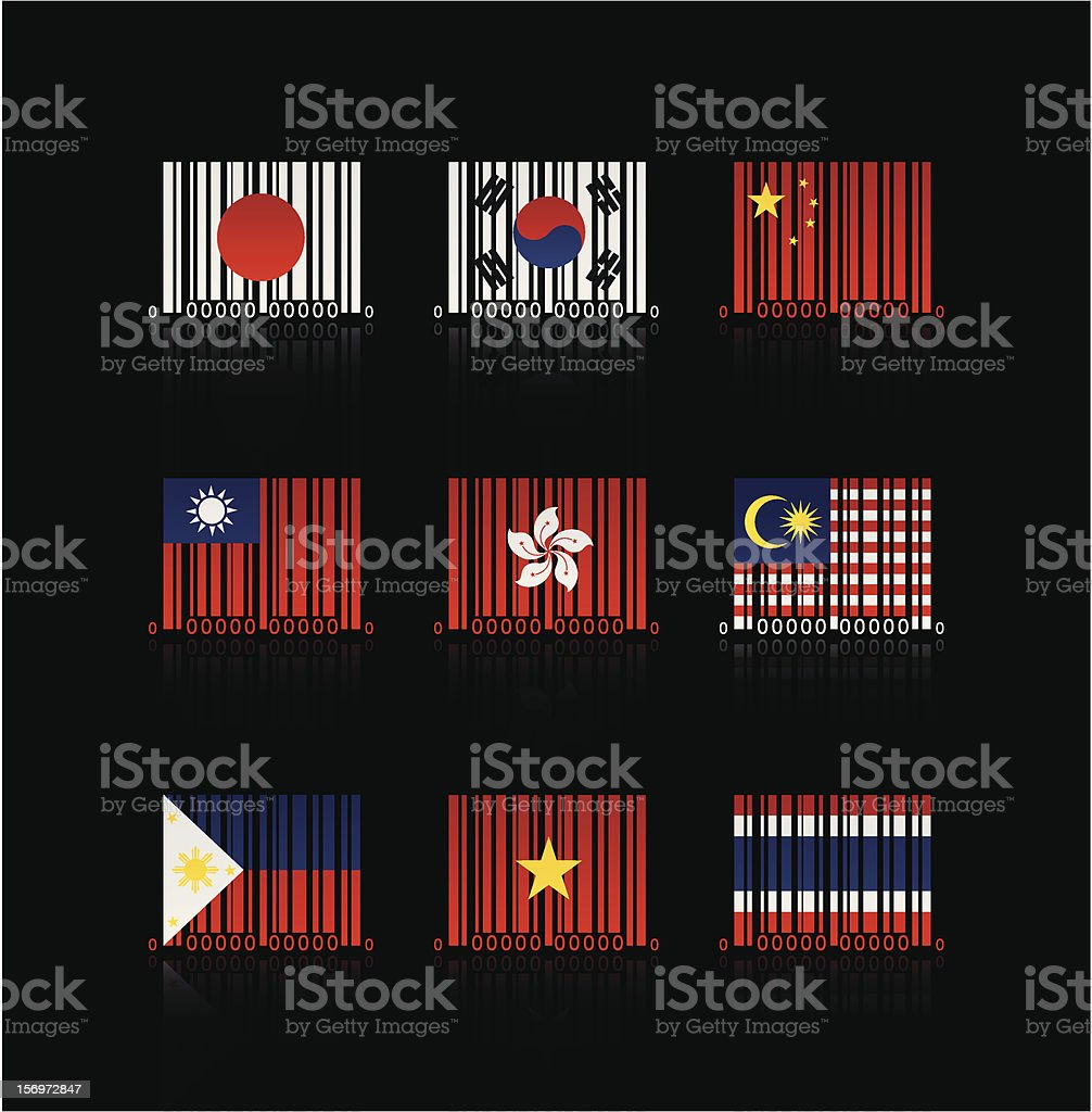Creative Barcode : Asian Flag royalty-free stock vector art