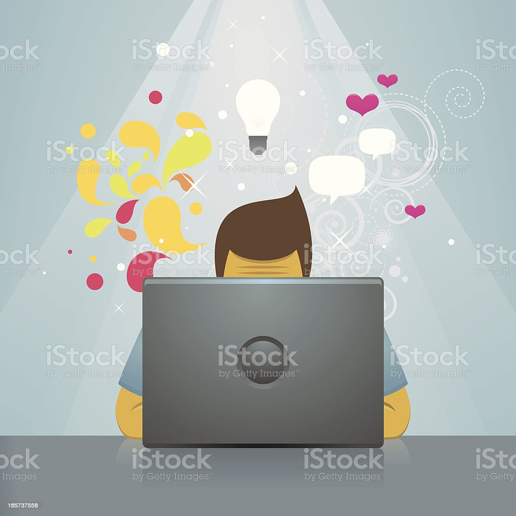 Creative behind laptop royalty-free stock vector art