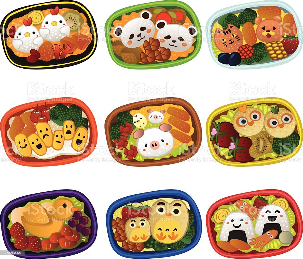 Creative bento for kids vector art illustration