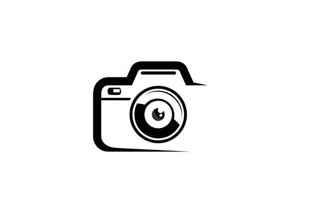 Creative Black Abstract Camera Logo Design Symbol Vector Illustration Creative Black Abstract Camera Logo Design Symbol Vector Illustration lens optical instrument stock illustrations