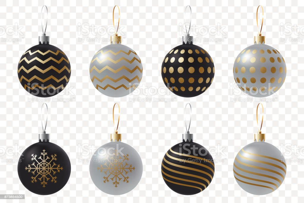 Creative Black And Silver Christmas Balls Set Realistic Christmas