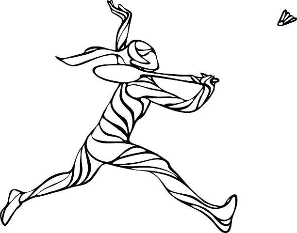 creative black and white outline female badminton player - badminton smash stock illustrations
