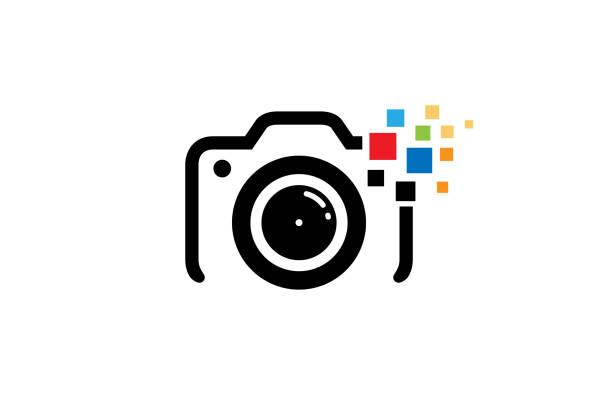 クリエイティブブラックカメラカラフルピクセルロゴデザインシンボルベクトルイラスト - カメラ点のイラスト素材/クリップアート素材/マンガ素材/アイコン素材