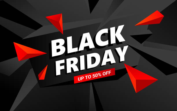 kreative black friday verkauf inschrift design-vorlage. black friday banner mit dreiecken design-elemente - black friday stock-grafiken, -clipart, -cartoons und -symbole
