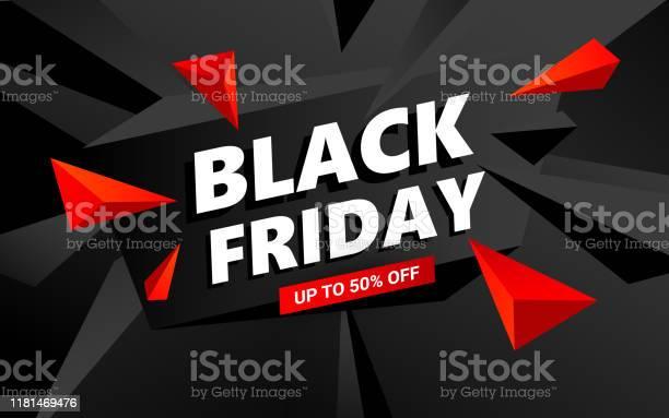 Creative Black Friday Sale Inscription Design Template Black Friday Banner With Triangles Design Elements - Arte vetorial de stock e mais imagens de Abstrato