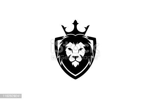 Creative Black Lion Head Crown King Shield Logo Design Symbol Vector Illustration