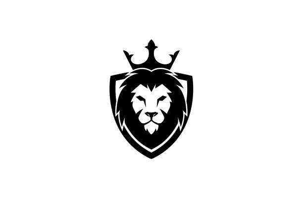 Creative Black Lion Head Crown King Shield Logo Design Symbol Vector Illustration Creative Black Lion Head Crown King Shield Logo Design Symbol Vector Illustration lion stock illustrations