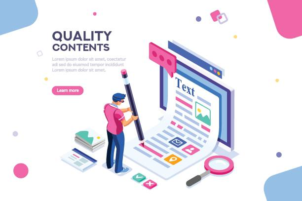 Creative Blog Web Page Template Blog edit, post infographic with pencil. Research promotion for seo content or marketing. Create education concept with characters and text. Flat isometric images, vector illustration. writing activity stock illustrations