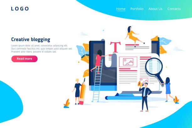 bildbanksillustrationer, clip art samt tecknat material och ikoner med kreativa blogga illustration koncept, grupp människor lära sig om kreativa blogga och copywriting kan använda för, målsida - kvinna tillfreds