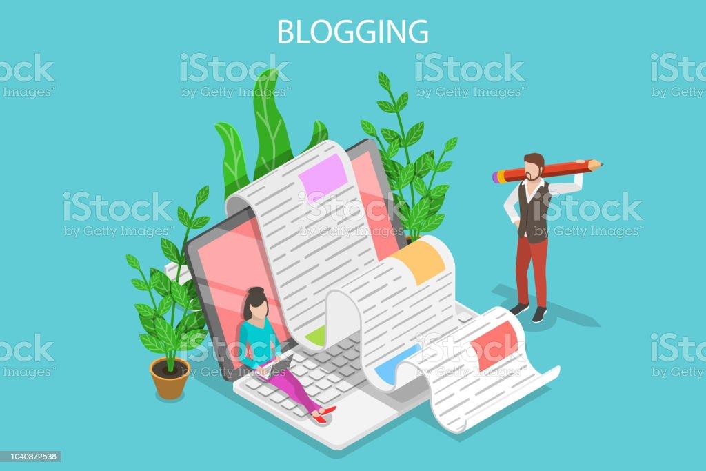 Kreative Blogging isometrische flache konzeptionelle Vektorgrafik. – Vektorgrafik