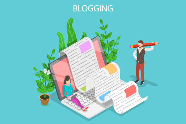 Creative blogging isometric flat vector conceptual illustration. Isometric flat vector concept of creative blogging, commercial blog posting, copywriting, content marketing strategy. storytelling stock illustrations