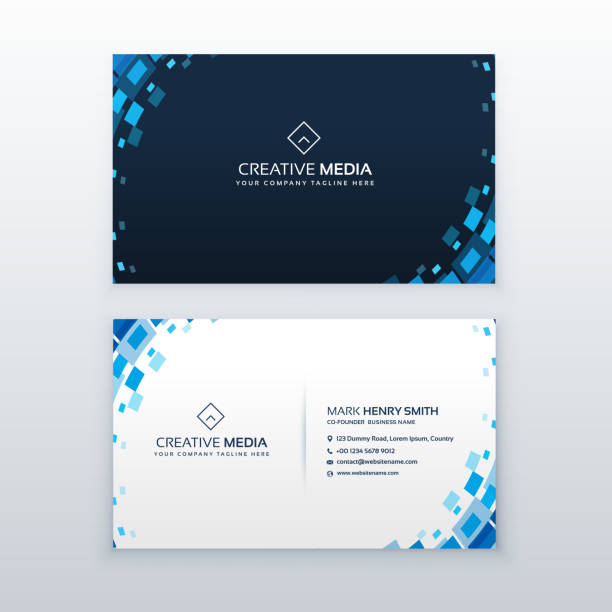 creative blue business card with mosaic elements - business cards templates stock illustrations
