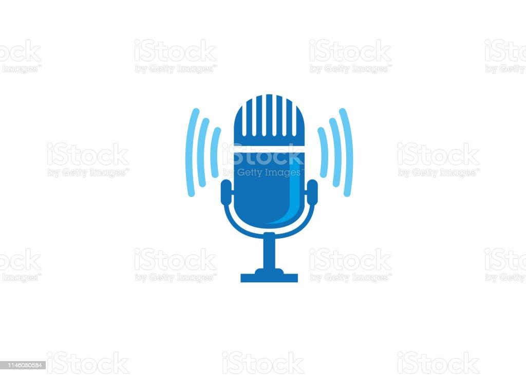 Creative Blue Microphone Logo Stock Illustration - Download
