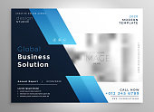 creative blue modern business brochure flyer presentation template