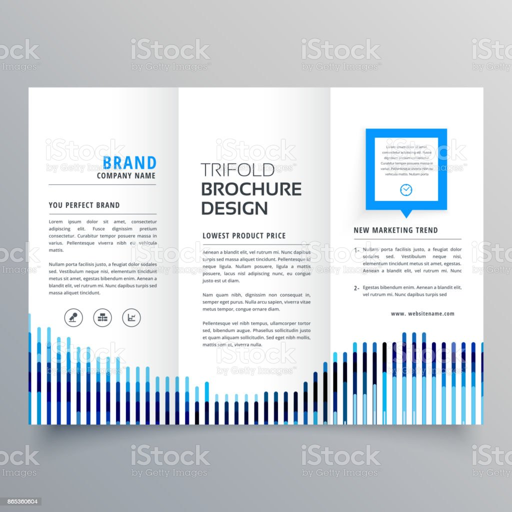 creative blue trifold business brochure design template vector art illustration