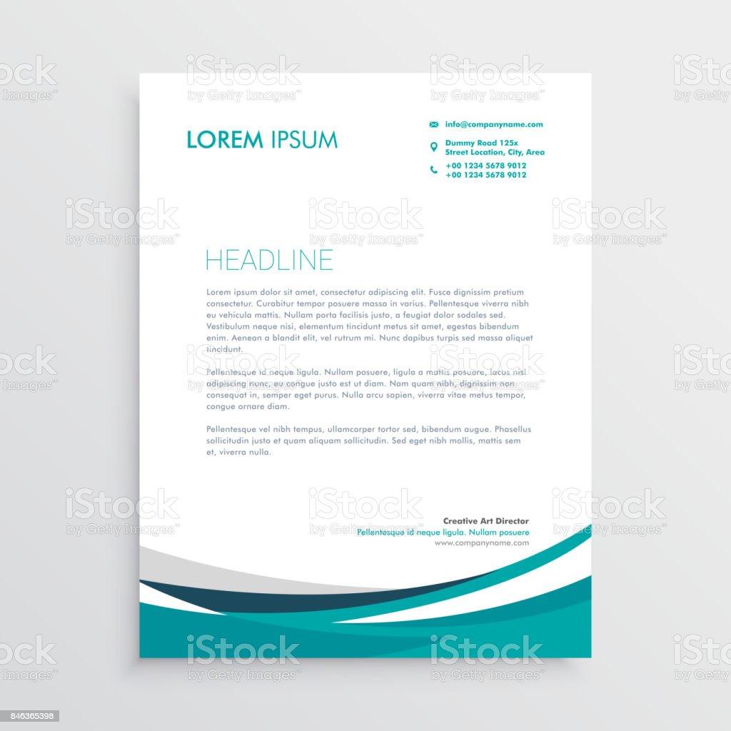 creative blue wave business letterhead design stock vector art