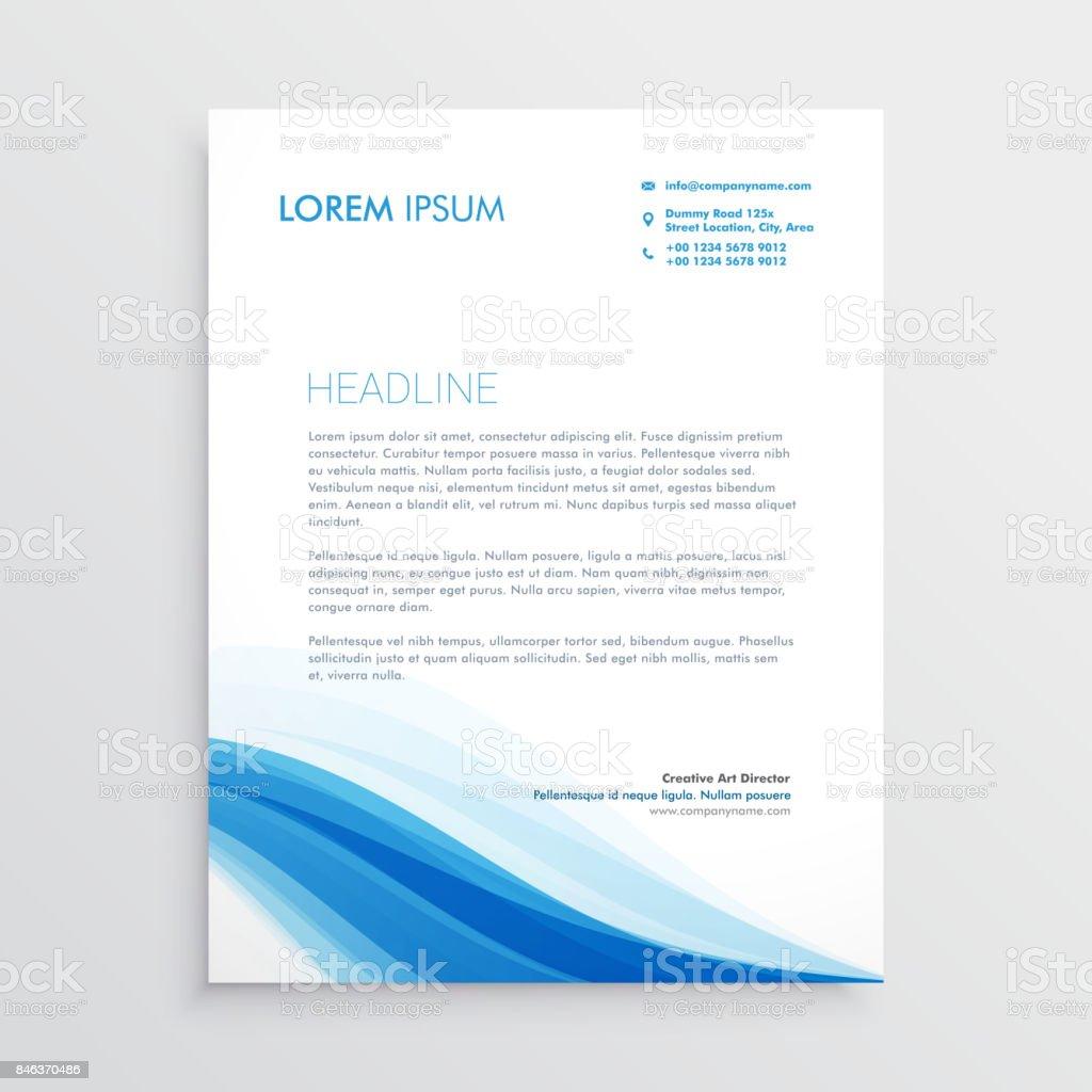 Kreative Blaue Gewellte Form Briefkopf Design Stock Vektor Art Und