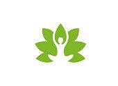 Creative Body Leaf Logo Illustration