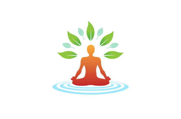creative body yoga meditation wellness icon, - yoga stock illustrations, clip art, cartoons, & icons