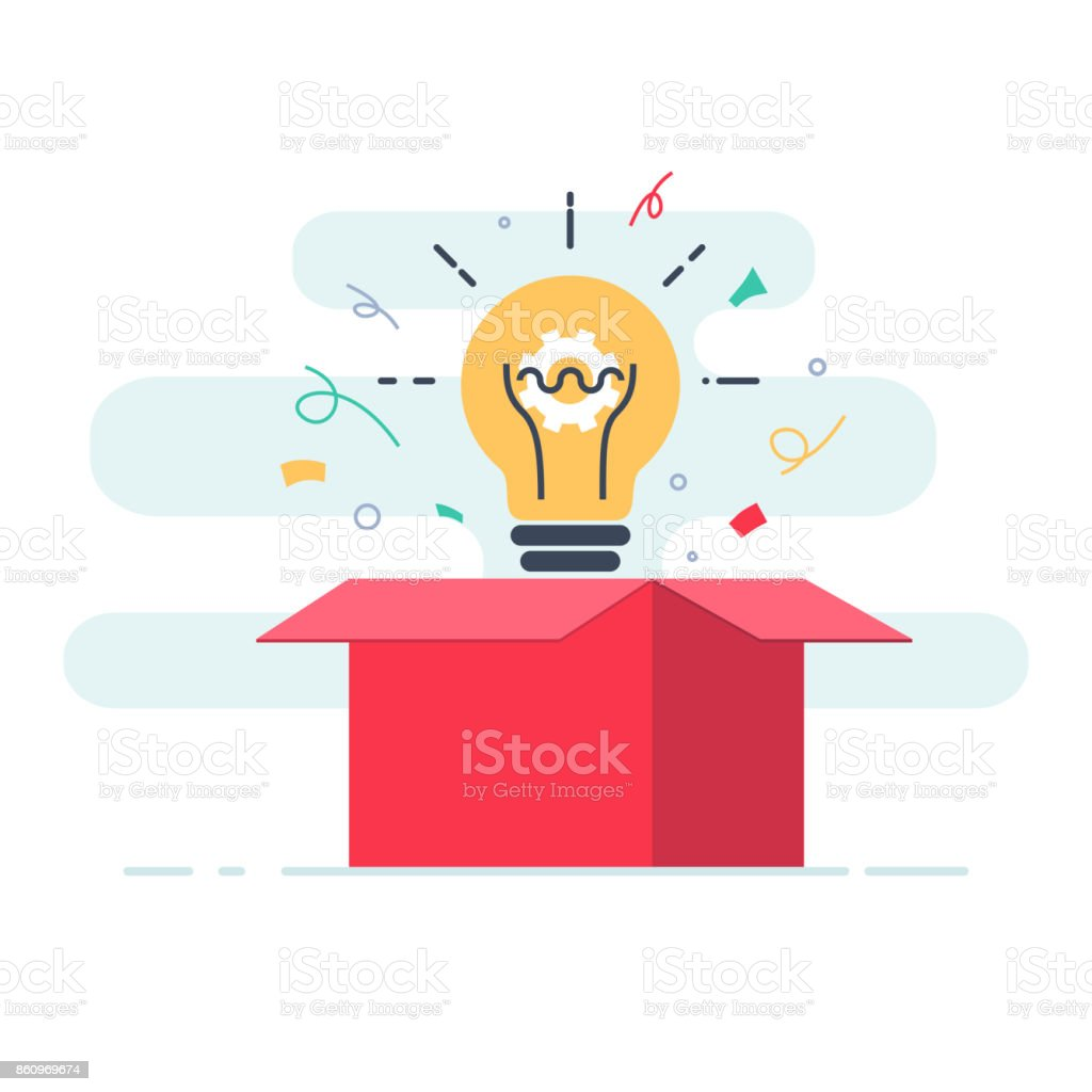Creative box. Think Outside the Box, Imagination, Creativity and Brainstorm concept. vector art illustration