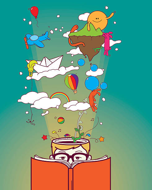 creative boy reading and dreaming - imagination stock illustrations